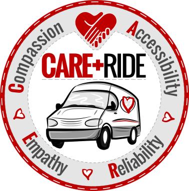 CARE RIDE LOGO - ROUND PATCH GRAY-WHITE 1450px
