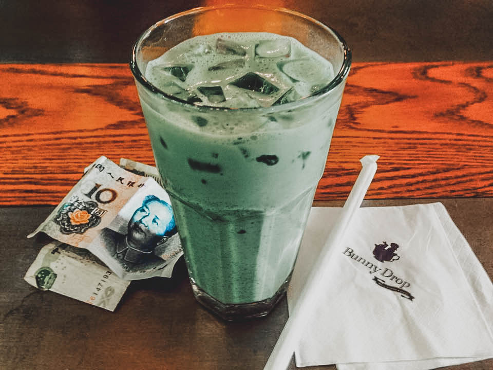 pandan drink at the bunny drop cafe
