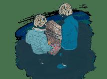 Savn og sorg. Etterlatte. Sosial nettverksstøtte. Klinikk for krisepsykologi. Psykologsenter Bergen. Psykologfellesskap. Kriseberedskap, krisehåndtering, kriseledelse, krise, krisesenter, traumeterapi, traumepsykologi, traumebehandling, traumer, traumesymptomer, kurs, veiledning, undervisning, beredskap, beredskapsledelse, beredskapsavtale bedrift, debriefing, kollegastøtte, kollegastøtteordning, sakkyndig arbeid, spesialisterklæring, individualterapi, gruppeterapi, parterapi, komplisert sorg, sorgterapi. Etterlatte, død, dødsfall, sosial nettverksstøtte. Sorgprosess. Sorgreaksjoner. Takle bearbeide sorg. Illustrasjon.