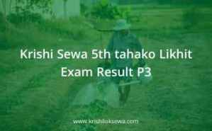 Krishi Sewa 5th tahako Likhit Exam Result P3