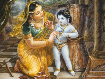 Mother Yashoda Tying Krishna to a Wooden Mortar