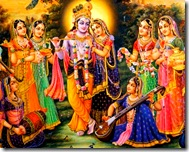 Radha and Krishna with gopis
