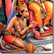 Hanuman serving Rama's lotus feet