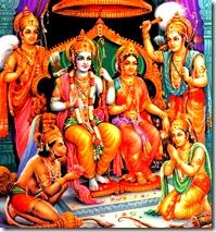 Lord Rama with brothers, Sita, and Hanuman
