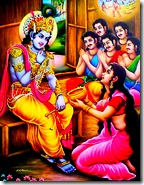 Krishna eating food offered by Draupadi