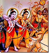 Rama, Lakshmana, and Hanuman fighting Ravana