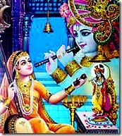 Mirabai worshiping Lord Krishna