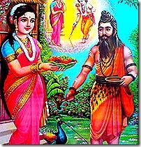 Sita offering food to Ravana in disguise
