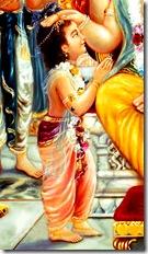 Prahlada offering prayers to Lord Nrishmadeva