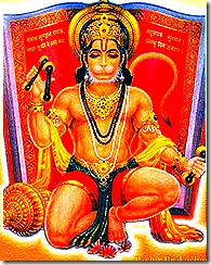 Hanuman performing devotional service
