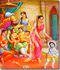 King Dashratha with his four sons