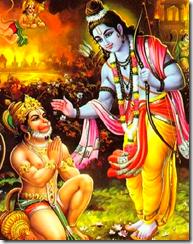 Hanuman surrendering to Lord Rama