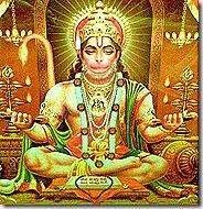 Hanuman worshiping Sita and Rama