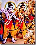 Rama and Lakshmana battling Ravana