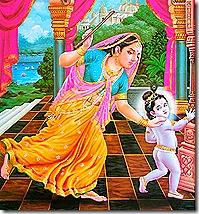 Mother Yashoda chasing after Krishna