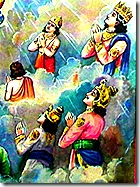 Demigods praying to Vishnu