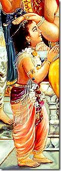 Prahlada praying to Narasimhadeva