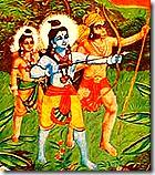Hanuman, Rama, and Lakshmana fighting Ravana