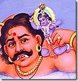 Krishna fighting the demon Trinavarta