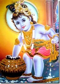 Lord Krishna enjoying butter