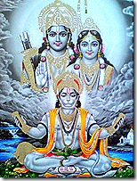 Hanuman praising Sita and Rama