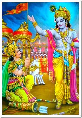 Lord Krishna delivering the Bhagavad-gita