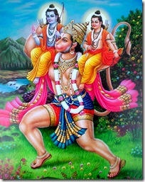 Hanuman carrying Rama and Lakshmana