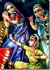 Gopis with Radha and Krishna