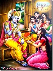Krishna visiting the Pandavas