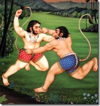 Sugriva and Vali fighting