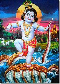 Krishna subduing the Kaliya serpent