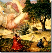 Krishna playing on Putana's body