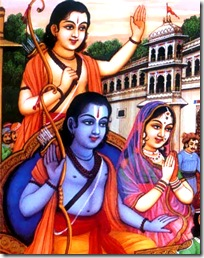 Sita, Rama and Lakshmana leaving Ayodhya