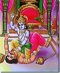 Krishna killing Kamsa