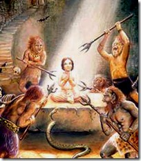 Demons trying to kill Prahlada