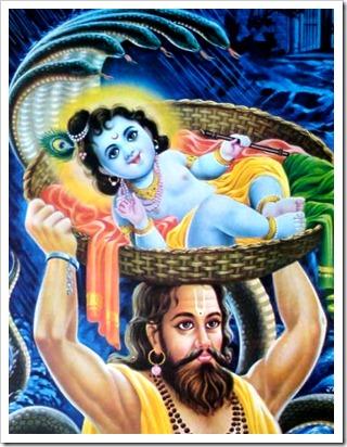 Vasudeva carrying Krishna to Vrindavana