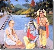 Tulsidas meeting Rama and Lakshmana