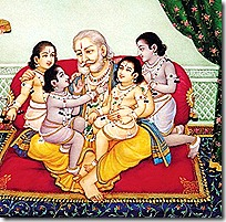 Dasharatha with his four sons