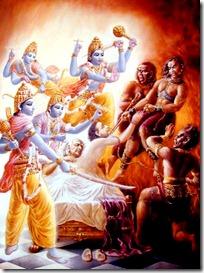 Ajamila being saved by the Vishnuduttas