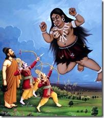 Rama and Lakshmana defending Vishvamitra