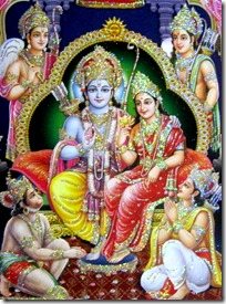 Rama with brothers, wife and Hanuman