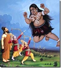 Lakshmana and Rama fighting Tataka