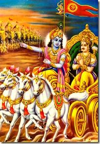 Arjuna and Krishna on the battlefield