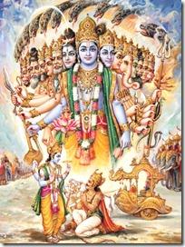 Lord Krishna showing universal form