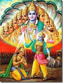 Krishna speaking to Arjuna