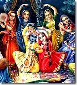 Radha and Krishna with the gopis