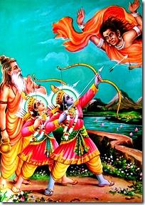 Rama and Lakshmana fighting off Tataka