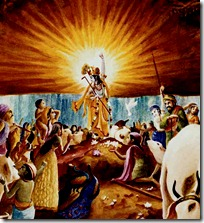 Lord Krishna lifting Govardhana Hill