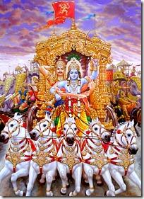 Krishna protecting Arjuna