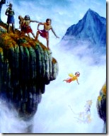 Prahlada thrown off a cliff
